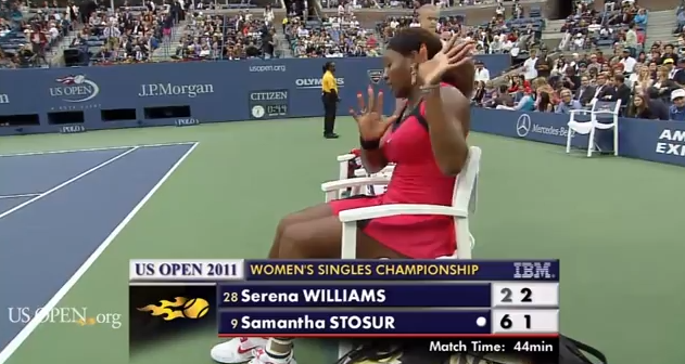 I watched the finals match between Serena Williams and Samantha Stosur and, after being educated by 'the call', found Serena Williams absolutely wrong in her rant towards the chair umpire